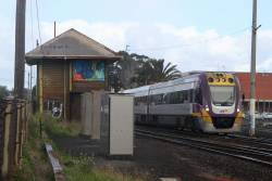 VLocity VL04 and classmate departs North Geelong on the up