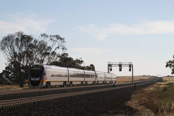 VLocity VL53 trails VL35 on a down Geelong service at Manor Junction