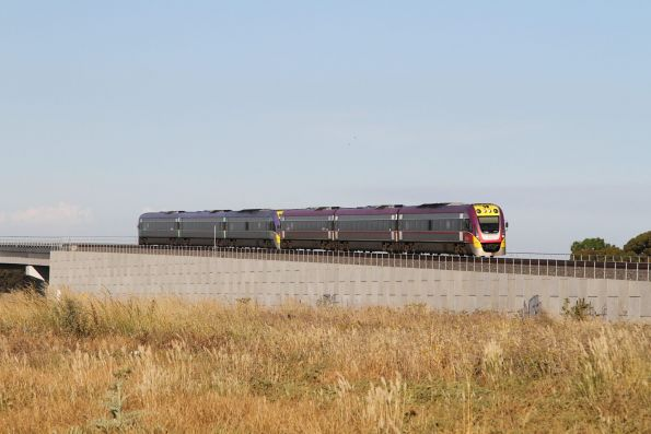 VLocity VL50 and classmate lead a down Geelong service over the flyover at Manor Junction