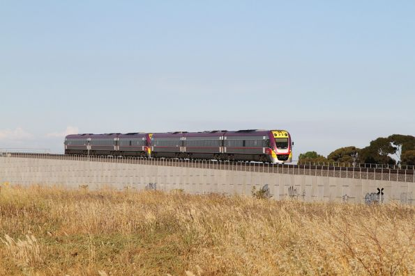 VLocity VL51 and classmate lead a down Geelong service over the flyover at Manor Junction