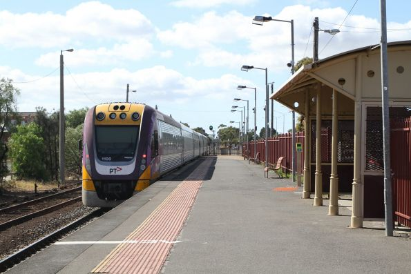 VLocity VL35 and VL00 departs South Geelong on a down Waurn Ponds service
