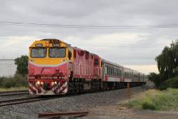 N465 leads carriage set N11 on a down Warrnambool service towards North Shore