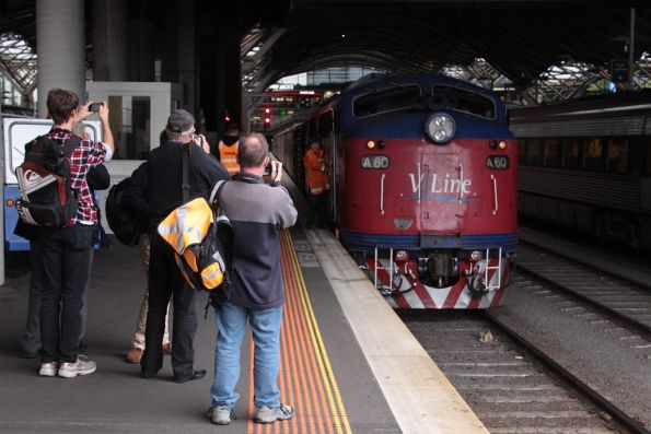 Railfans out at Southern Cross to photograph A60 on the last down service