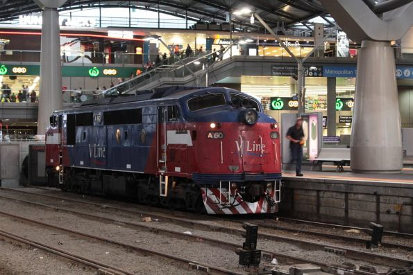 After running around at Southern Cross, A60 sits in the headshunt of platform 3