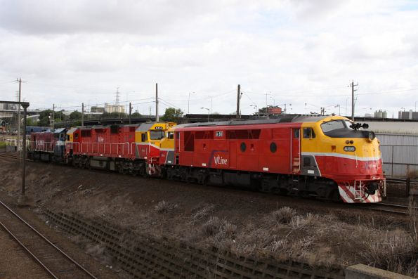A66, N454 and P15 head off the North Melbourne flyover light engine to South Dynon