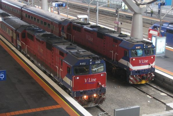 V/Line N classes in old (N452) and modified liveries (N457)