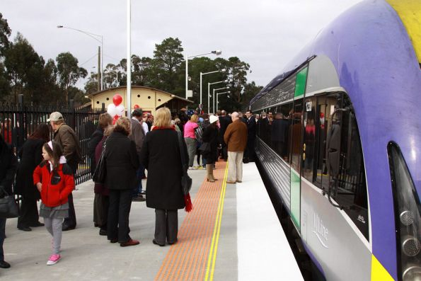 Locals on the platform, the train stopped at Creswick for 30 minutes for the opening ceremony