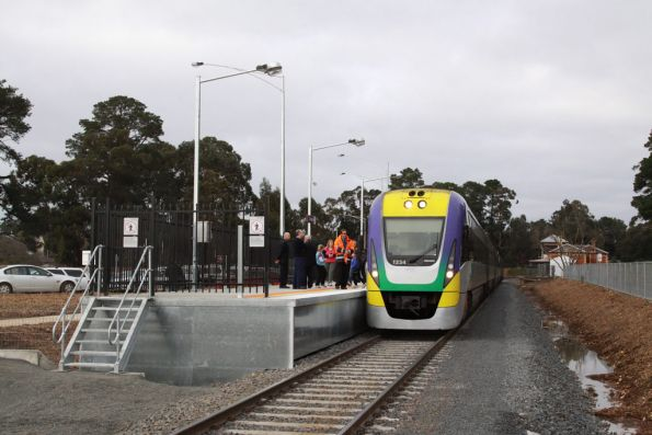 The new platform at Creswick is up on stilts, with sheetmetal blanking off the sides