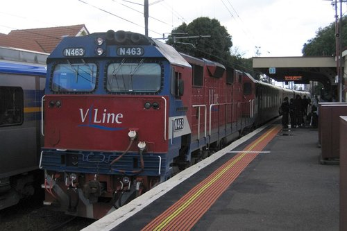 N463 on a down Geelong V/line service at Newport station
