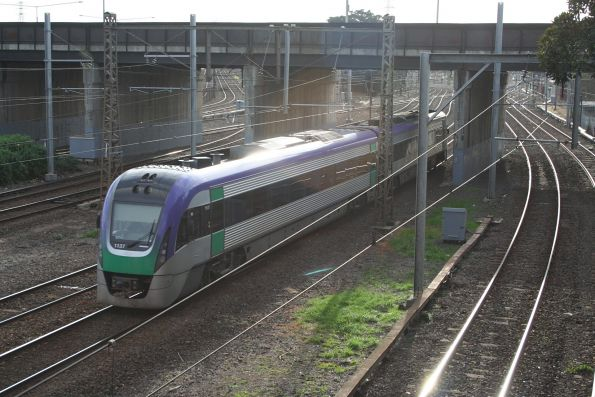 VLocity VL37 arrives into North Melbourne with a citybound service