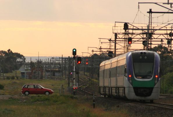 Into the sunset - VLocity bound for Geelong at Newport South