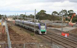 VLocity VL30 and classmate runs through the worksite at Laverton