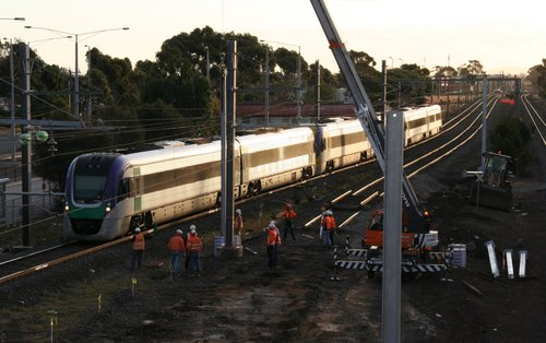 Vlocity VL30 and two classmates run through the worksite at Laverton