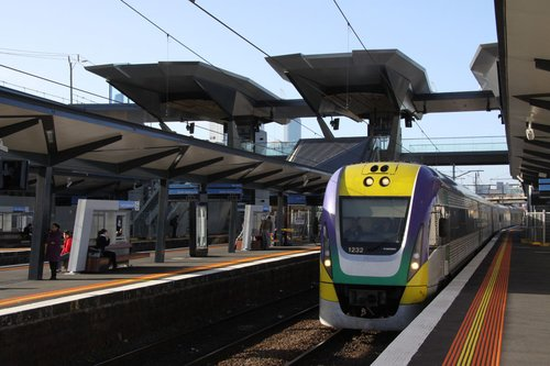 VLocity 3VL32 runs through North Melbourne under the new concourse