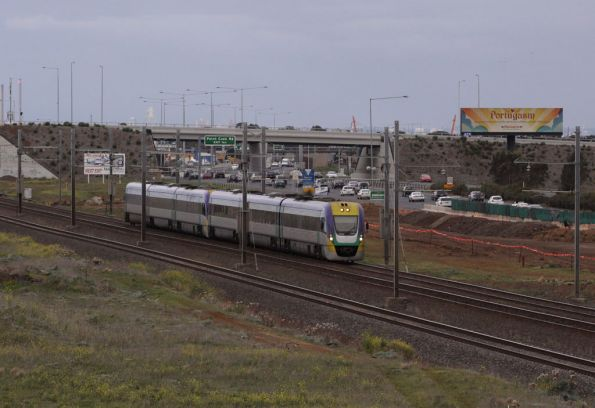 Pair of VLocity 3VL units parallel the Princes Freeway outside Aircraft headed for Geelong