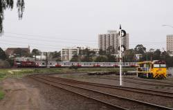 P11 leads a push-pull H set on the down, brand new QRN 6001 in the foreground at North Dynon