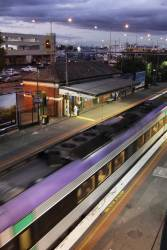 Down VLocity departs Footscray station Sunshine bound