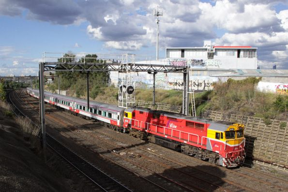 N462 heads a SN set on a down Marshall train into Footscray