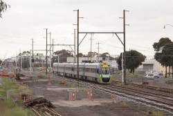 VLocity VL16 and classmate on up Bendigo service at Albion