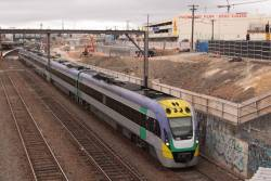 VLocity VL03 and classmate passing RRL works on the up at Footscray