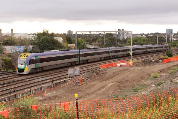 VLocity on the down at Footscray, passing RRL works in the cutting