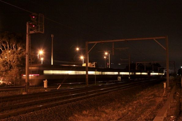 Up Geelong train rejoins the mainline at Werribee, having been checked to 40 km/h to go through the back platform road