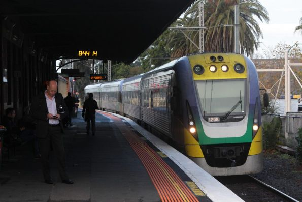 VLocity VL08 and classmate pass through Essendon, on a down Seymour train