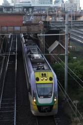 VLocity VL18 passes through the suburban tracks at North Melbourne, bound for Seymour