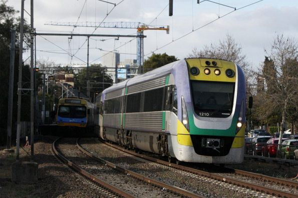 VLocity VL10 and classmate pass through Moonee Ponds with a down Seymour service