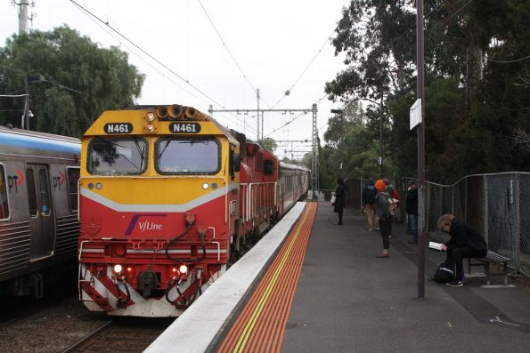 N461 leads an up Seymour service through Newmarket