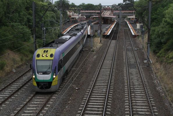 VLocity 3VL19 heads through Hawksburn station on an up Traralgon service