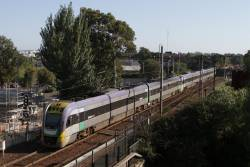 VLocity VL02 and classmate on a down Geelong service depart Footscray