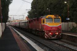 N460 leads an up Geelong service at Newport