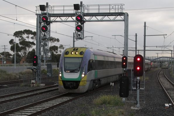VLocity 3VL30 leads a classmate on a down Geelong service at Laverton