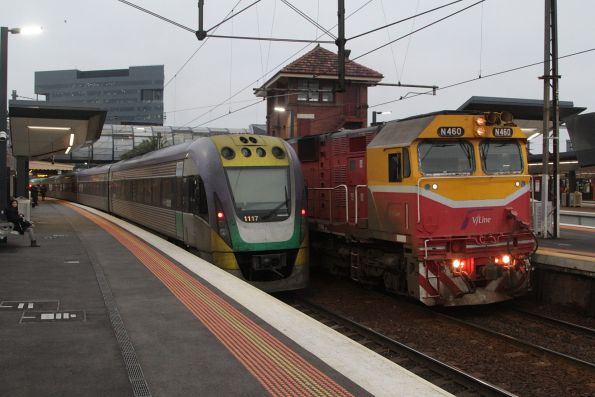 Pair of V/Line trains on the suburban lines at Footscray: N460 on an up Geelong service passes VLocity VL17 and classmate headed the other way