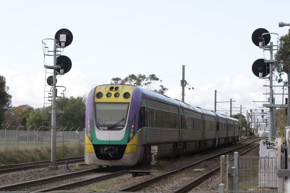 VLocity 3VL19 trails an up Geelong services onto the suburban network at Werribee