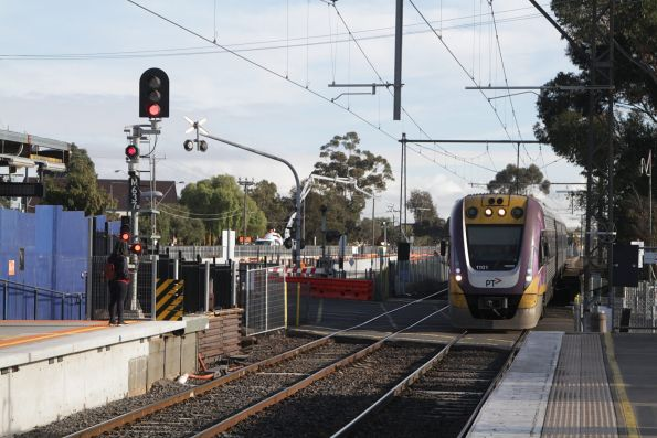 VLocity VL01 passes through St Albans station on an up Bendigo service
