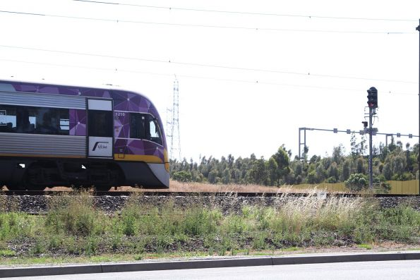 VLocity VL10 on a down Bendigo service waits between Albion and Ginifer for the suburban train ahead
