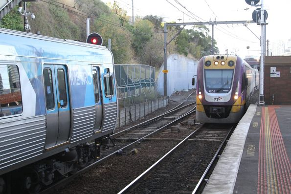 VLocity VL08 approaches North Melbourne with a down Seymour service