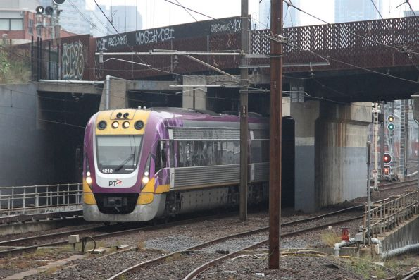 VLocity VL12 arrives into North Melbourne with a down Seymour service