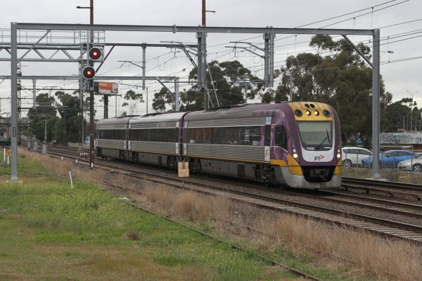 VLocity VL00 leads an up Bendigo service onto the RRL lines at Albion