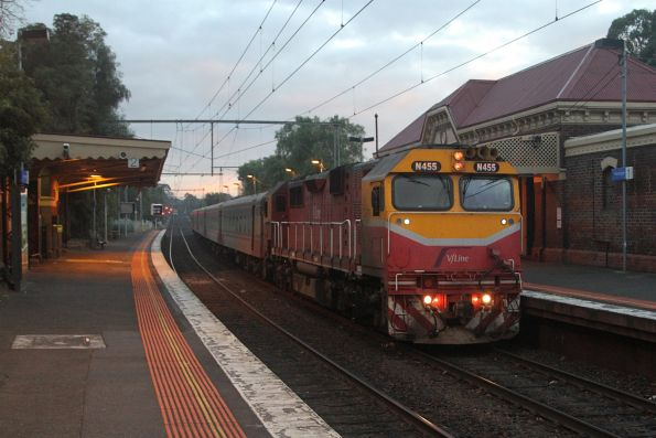 N455 leads an up Shepparton service through Kensington