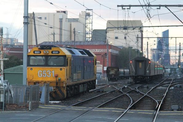 Tail end of an up Shepparton service at Kensington