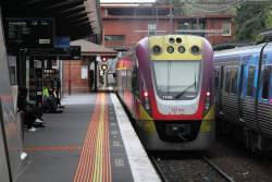 VLocity VL46 leads a down Seymour service through North Melbourne station
