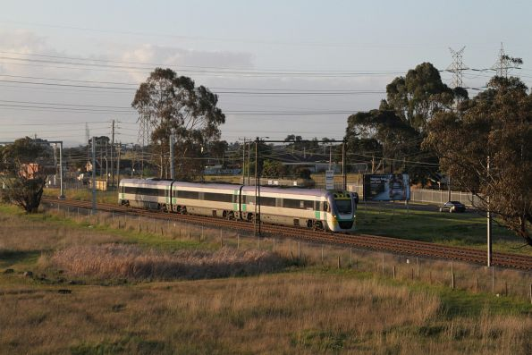 VLocity VL36 on an up Bendigo service approaches the Western Ring Road at Albion