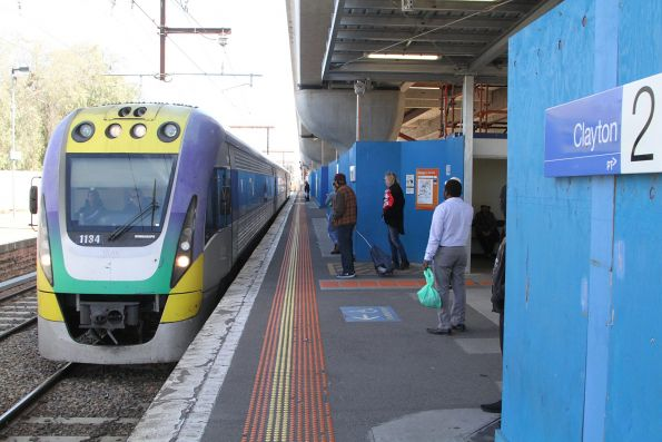 VLocity VL34 pauses for passengers at Clayton station on the down