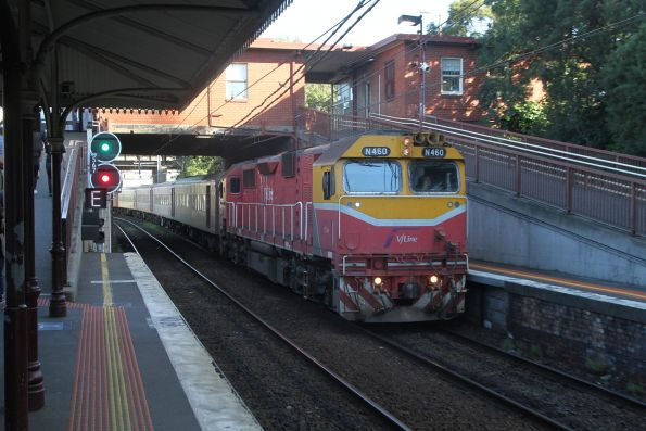 N460 arrives into North Melbourne with an up Shepparton service