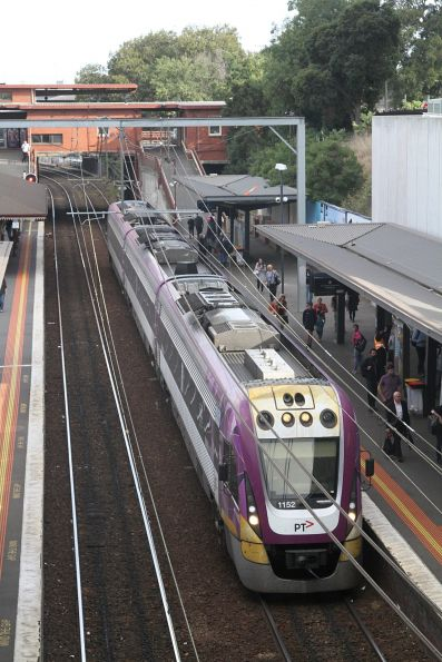VLocity VL52 pauses at North Melbourne platform 1 with an up Seymour service