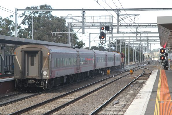Tail end of the up Swan Hill service running express through Sunbury station
