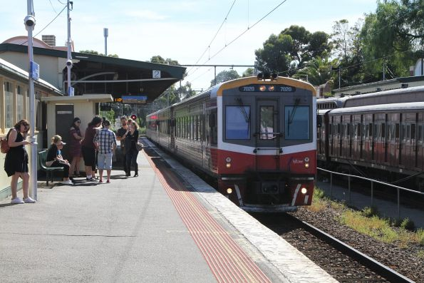 Sprinter 7020 and three classmates pass through Essendon with an up Seymour service